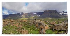 above the westfjords of Iceland 2 Beach Towel