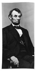 Beach Towel featuring the photograph Abraham Lincoln Portrait - Used For The Five Dollar Bill - C 1864 by International  Images