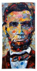 Abraham Lincoln Portrait Beach Towel by Debra Hurd