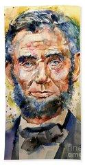 Abraham Lincoln Watercolor Beach Towel