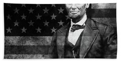 Abraham Lincoln With American Flag  Beach Towel by Gull G