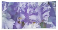 Absolute Treasure Closeup. The Beauty Of Irises Beach Sheet