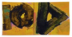 Beach Towel featuring the painting Abstract 2071-diptych by Cliff Spohn