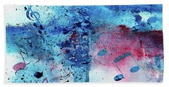 Abstract Acrylic Painting Music Notes II Beach Towel by Saribelle Rodriguez