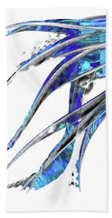 Abstract Art Blue And White - Flowing 5 - Sharon Cummings Beach Towel