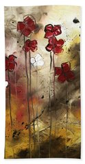 Abstract Art Original Flower Painting Floral Arrangement By Madart Beach Towel