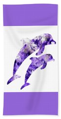 Beach Sheet featuring the painting Abstract Art Purple Dolphins by Saribelle Rodriguez