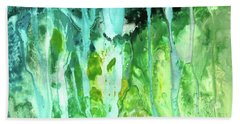 Beach Sheet featuring the painting Abstract Art Waterfall by Saribelle Rodriguez