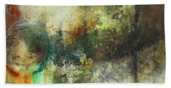 Abstract Art With Blue Green And Warm Tones Beach Sheet