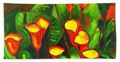 Abstract Arum Lilies Beach Towel