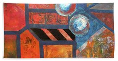 Beach Towel featuring the mixed media Abstract Autumn by Riana Van Staden