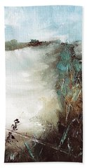 Abstract Barbwire Pasture Landscape Beach Towel by Michele Carter