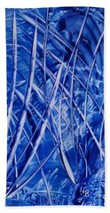 Abstract Blues Encaustic Beach Towel