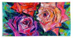 Abstract Bouquet Of Roses Beach Towel by Mona Edulesco