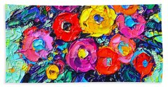 Abstract Colorful Wild Roses Modern Impressionist Palette Knife Oil Painting By Ana Maria Edulescu  Beach Towel