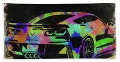 Abstract Corvette Watercolor II Beach Towel