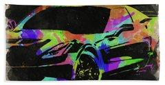Abstract Corvette Watercolor Iv Beach Towel