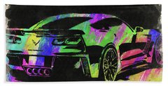 Abstract Corvette Watercolor Ix Beach Towel