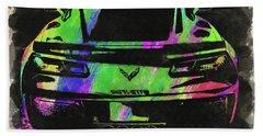Abstract Corvette Watercolor Viii Beach Towel