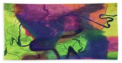 Colorful Abstract Cloud Swirling Lines Beach Towel