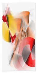 Abstract Digital Red And Yellow Beach Towel