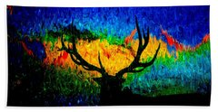 Abstract Elk Scenic View Beach Towel