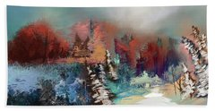 Abstract Fall Landscape Painting Beach Towel