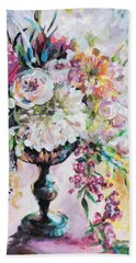 Abstract Floral Beach Sheet by Arleana Holtzmann