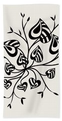 Abstract Floral With Pointy Leaves In Black And White Beach Towel