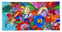 Abstract Flowers Floral Miniature Modern Impressionist Palette Knife Oil Painting Ana Maria Edulescu Beach Towel