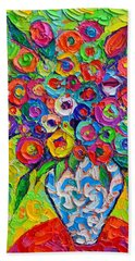 Abstract Flowers Of Happiness Impressionist Impasto Palette Knife Oil Painting By Ana Maria Edulescu Beach Towel