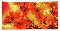 Abstract Forsythia Flowers Beach Sheet