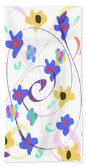 Beach Towel featuring the digital art Abstract Garden Nr 7 Naif Style by Bee-Bee Deigner