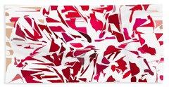 Abstract Geranium Beach Towel