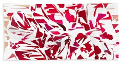 Abstract Geranium Beach Towel