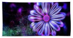 Abstract Glowing Purple And Blue Flower Beach Towel