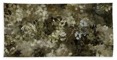 Beach Towel featuring the mixed media Abstract Gold Black White 5 by Clare Bambers