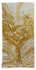 Abstract Golden Rooster Beach Towel