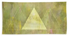 Abstract Green And Gold Triangles Beach Towel