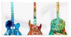 Abstract Guitars By Sharon Cummings Beach Towel