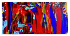 Abstract In Blue And Red Beach Towel
