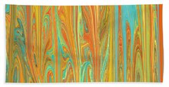 Beach Towel featuring the digital art Abstract In Copper, Orange, Blue, And Gold by Jessica Wright