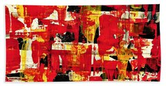 Abstract In Red, White And Yellow  Beach Sheet
