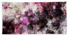 Abstract Landscape Painting In Purple And Pink Tones Beach Sheet by Ayse Deniz