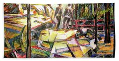 Abstract Landscape With People Beach Towel by Stan Esson
