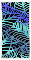 Beach Towel featuring the digital art Abstract Leaves Black Aqua by Karen Dyson