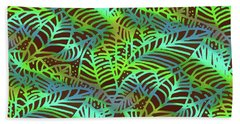 Beach Towel featuring the digital art Abstract Leaves Chocolate  Shadows by Karen Dyson