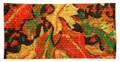 Beach Sheet featuring the painting Abstract Leaves by Christina Verdgeline