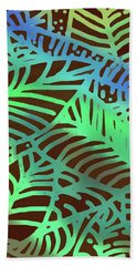 Beach Towel featuring the digital art Abstract Leaves Cocoa Green by Karen Dyson