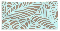 Beach Towel featuring the digital art Abstract Leaves Warm Taupe Aqua by Karen Dyson